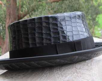 Iridescent blue patent croc print leather hand crafted SKA / Rocky / Jazz / Performer's Pork Pie Hat