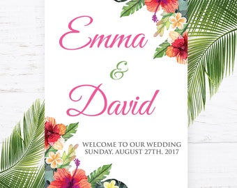 Welcome Sign, Tropical Welcome Sign, Welcome to the Wedding of, Palm Tree Welcome Sign, Palm Trees Welcome Sign, Flower Welcome Sign