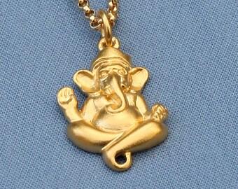 Gold Ganesh Necklace,24K Gold Vermeil Ganesha,Buddha Jewelry,Buddhist Jewelry,Yoga Jewelry,Ganesh Charm,Ganesh Pendant,Yoga,Karma,Elephant