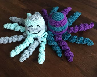 Crochet octopus preemie octopus nicu octopus amigurumi stuffed animal lovey stripes striped baby shower gift pink blue grey mint green