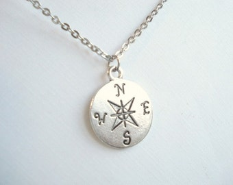 Silver Compass Necklace Compass Charm Necklace North South Necklace Silver Compass Necklace Silver Disc Necklace