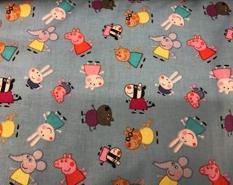 Nick Jr. Peppa Pig blue fabric featuring Peppa, cartoon fabric, preschool fabric, pig fabric, kids fabric