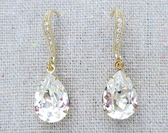 Swarovski Crystal Clear Faux Diamond Pear Tear Stone Rhinestone Dangling Delicate Bridal Wedding Gold Cubic Zirconia Bridal Earrings