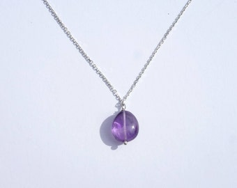 PENDANT AMETHYST chain 925 sterling silver Crystal healing necklace, birthstone of February, not expensive women gift cheap, mothers