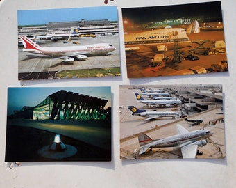 Lot of four vintage airplane postcards
