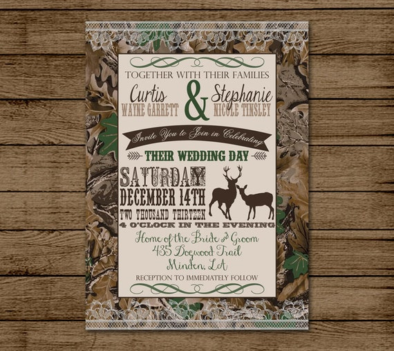 camo wedding invitations customized wedding invitation camo deer camouflage couples 2403