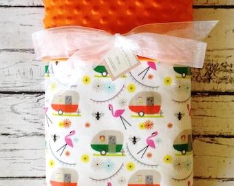 Happy Camper~ Baby Blanket, Designer Minky Blanket, Personalized Minky Baby Blanket