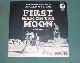 1969...Apollo 11 Flight..First Man on the Moon...Commemorative Record...Excellent Condition..Hugh Downs Narrates..July 1969..