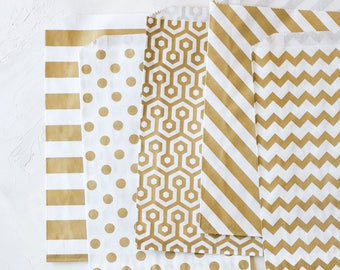 Gold Metallic White Kraft Extra Large Bags - 20 pc - Horizontal Stripe / Polka Dot / Honeycomb / Diagonal Stripe / Chevron