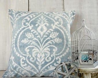 French Farmhouse Pillow Cover / Blue Farmhouse Pillow / Damask Pillow Cover / Soft Blue Pillow / Blue Cottage Pillow