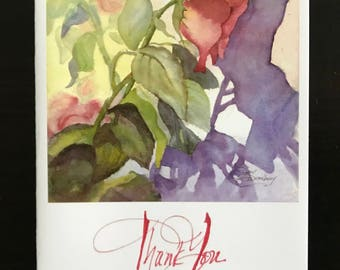 FREE SHIPPING, Rose, Notecard, Thank You Card, Blank Inside, Colorful, Purple, Flower, Plant, Watercolor Fine Art Print by Janet Dosenberry