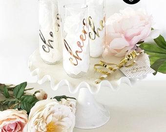PLASTIC Cheers Bachelorette Glasses Cheers Champagne Flutes Plastic Champagne Glasses Bridal Shower Glasses (EB3254CH) set of 6 flutes