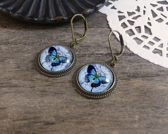 Blue butterfly earrings, Blue earrings, Butterfly jewelry, Blue dangle earrings, Gift for her, Insect earrings, Butterflies earrings WJ 006