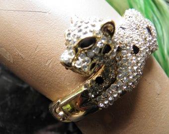 Glitzy Rhinestone Panther Bracelet, Believe to be a KJL Unsigned.