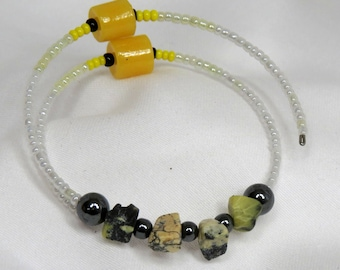 Yellow stone and hematite wrap bracelet