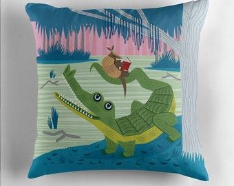 "The Alligator and The Armadillo - Throw Pillow / Cushion Cover (16"" x 16"") iOTA iLLUSTRATION"