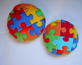 Hot Cold Packs Hand Warmers Autism Awareness Rainbow Puzzle Pieces Set of 2