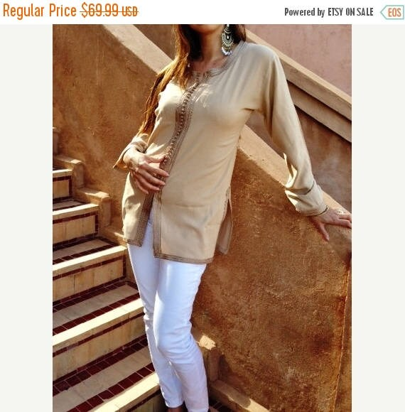 KAFTAN 20% SALE/ Magrib Style Beige Shirt - perfect for loungewear,resortwear, casualwear, as birthday, honeymoon gifts, christmas gifts, bo