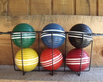 6 VTG 1960s Striped Forster Croquet Balls in a Wire Tabletop Stand. Red Yellow Orange Green Blue & Black w White. Made USA.  Game Room Decor