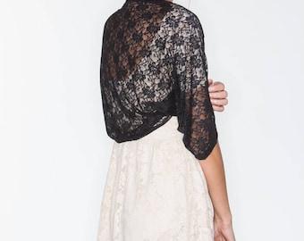 Black shawl, black lace shawl, shawls and wraps, black bolero, lace cover up, mother of the bride