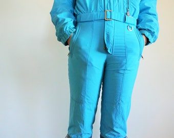 Vintage One Piece Skiing Suit / Ski / Suit / Light / Blue / Jacket / Small / S / Onepiece / Jumpsuit / Skiing / Costume / Overall