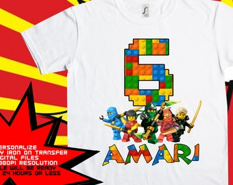 Lego Ninjago. Iron On Transfer, Boy Birthday Shirt, Lego Ninjago Iron On Transfer. DIY Birthday Shirt, Personalize Name, Digital Files Only.