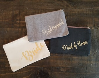 Bachlorette Cosmetic Bag - Will You Be My Bridesmaid, Maid of Honor, Costmetic Bag, Makeup Bag Cosmetic Case Bridal Party Gifts