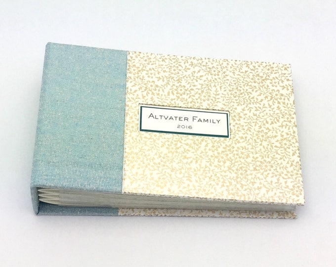 Blue and Gold Mini Photo Album - Made to Order for 4x6 Photos
