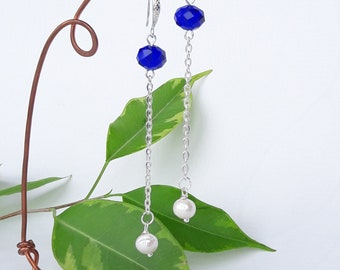 Long pearl culture/Blue Crystal on chain Silver earrings / blue/gift women original/jewelry Crystal jewelry mother mother