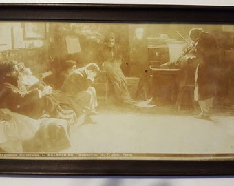Antique Lithograph Paris Exposition Universelle-Listening to Beethoven