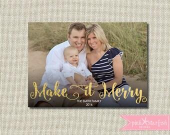 Christmas Card, Holiday Card, Gold Christmas Card, Foil Christmas Card, Xmas Card, Photo Christmas Card, Holiday Christmas Card, Xmas