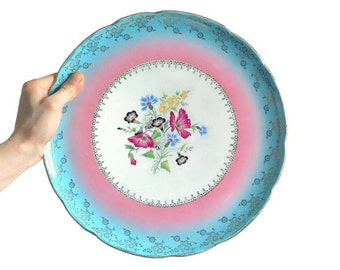 """Colorful Digoin Sarreguemines vintage cake plate from France with floral motif """"Orsay"""""""