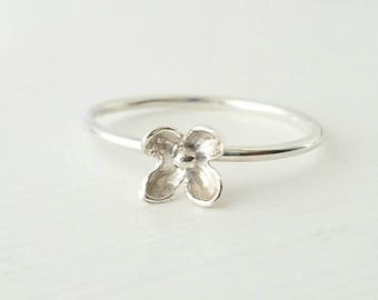 Lilac Blossom Flower Ring in Sterling Silver