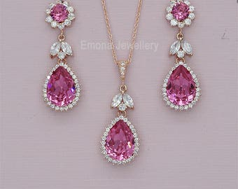 Bridesmaid Jewelry Set, Hot Pink Bridal Jewelry Sets, Rose Gold Wedding Necklace and EArrings, Swarovski Crystal Jewelry set, silver
