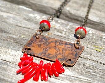 Etched Copper and Red Coral Necklace