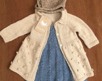 Alpaca Coat, Hand Knitted Coat, Girl Coat. Custom Order