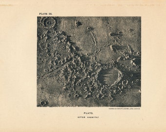 1911 Lunar Crater on Moon Surface, Antique Astronomy Print