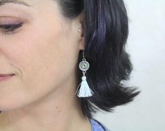 White Tassel Medallion Earrings  - Hypoallergenic Earrings Medallion Iridescent Tassal Mandala