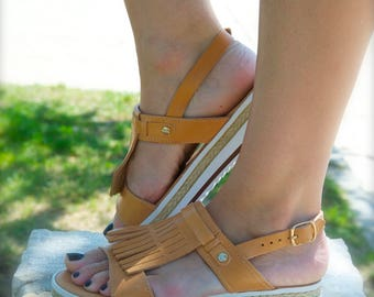 FAY sandals/ woman Greek leather sandals/ fringe sandals/ sandals/ leather platform sandals/ boho sandals/ natural color
