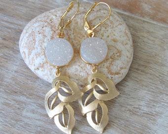 White Druzy Gold Leaf Earrings