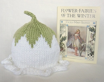 Winter Flower Fairy Hat, Knit Cotton Baby Hat and Book