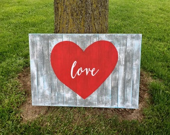Planked Love Sign, Planked Red Heart Love Sign, Farmhouse Decor, Heart Sign, Love Wall Art, Love Sign