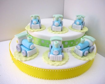 Train Cupcake Topper - Handmade 3D Birthday/Baby Shower Cupcake Topper - 6 pcs