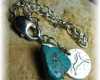 Cowgirl Horse Bracelet, Natural Turquoise Nugget Stone, Sterling Silver -December Birthstone- Handmade - SALE Was 60 Wild Spirit - Primitive