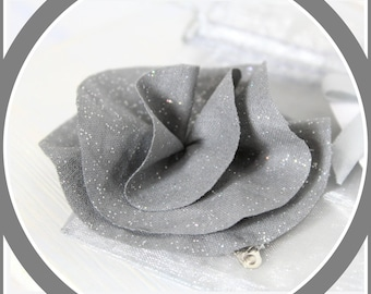 Miss Blossom flower hair clip gray sequins