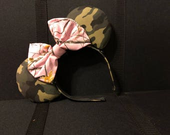 Ready to Ship (as shown): Magical Mouse Ears headband - green camo camoflauge