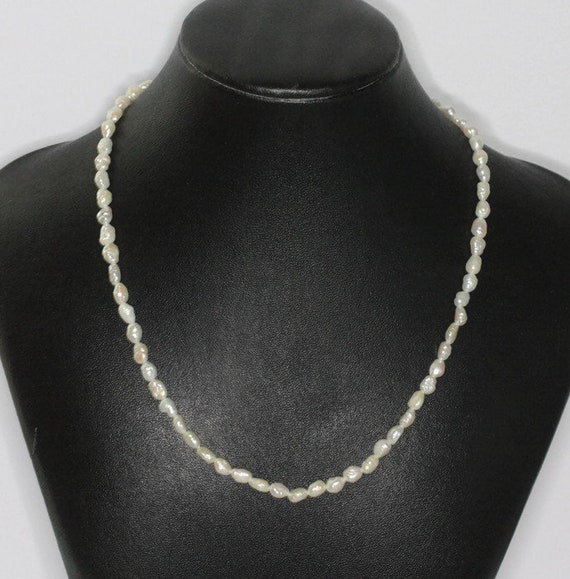 Freshwater Rice Pearl Necklace  Vintage 16 Inch Choker Bridal Jewelry