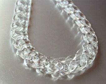 80pcs Transparent Acrylic Curb Chain Links, Clear White Plastic Curb Chain Links, Open Link per Size 22mmx15mm