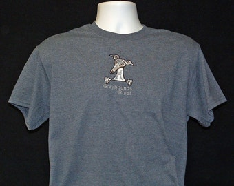 SS24 Embroidered Greyhound T shirt - Greyhounds Rule!