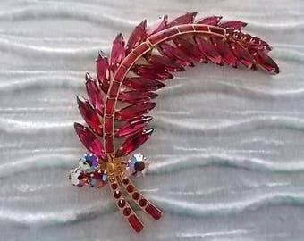 Vintage Red Glass Leaf  Brooch Pin -Lovely